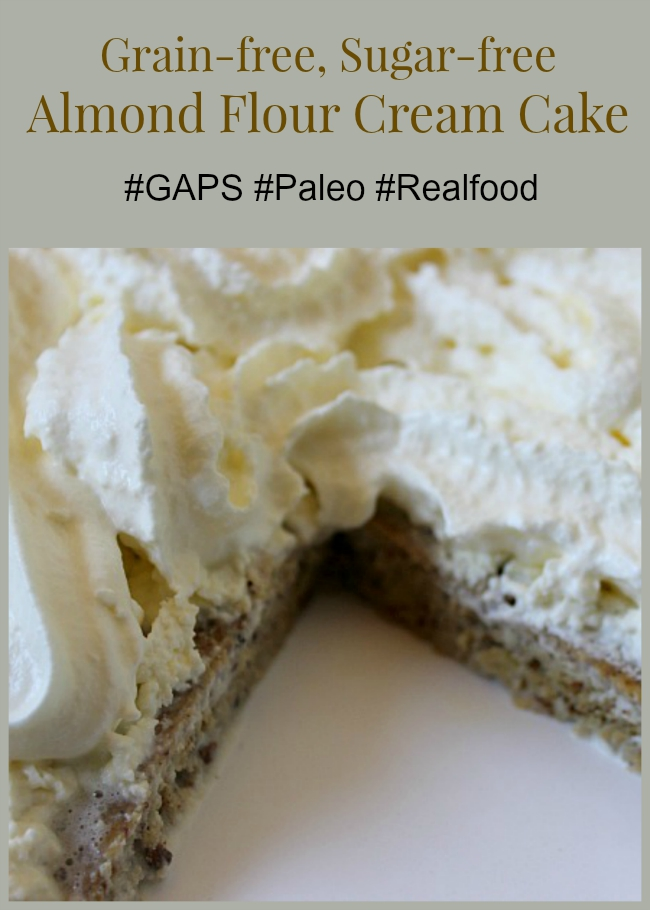 Looking for healthy dessert options Following a grain-free diet Consider this almond flour cream cake! #paleo #GAPS #realfood