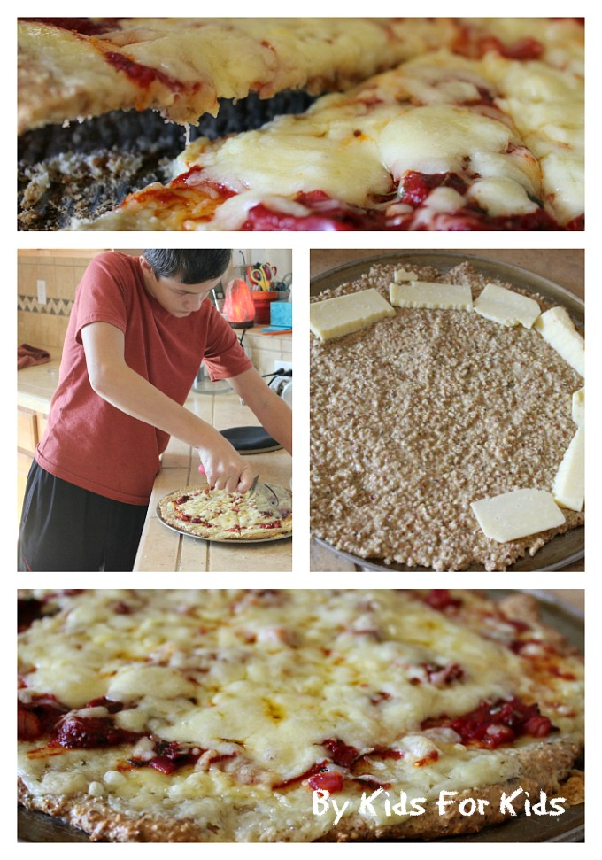 Grain-free gluten free pizza by kids for kids
