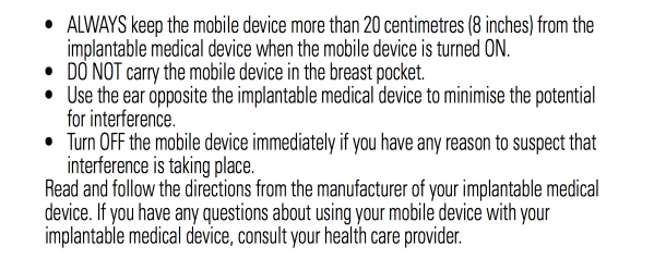 Motorola warning for implantable devices