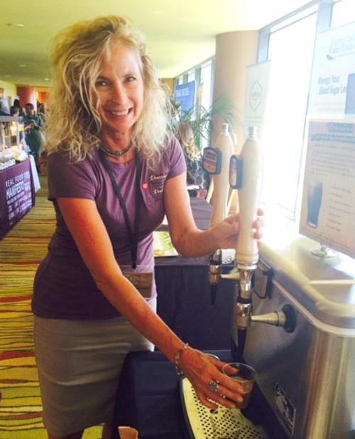 Founder of Teecino shows Teecino on tap.