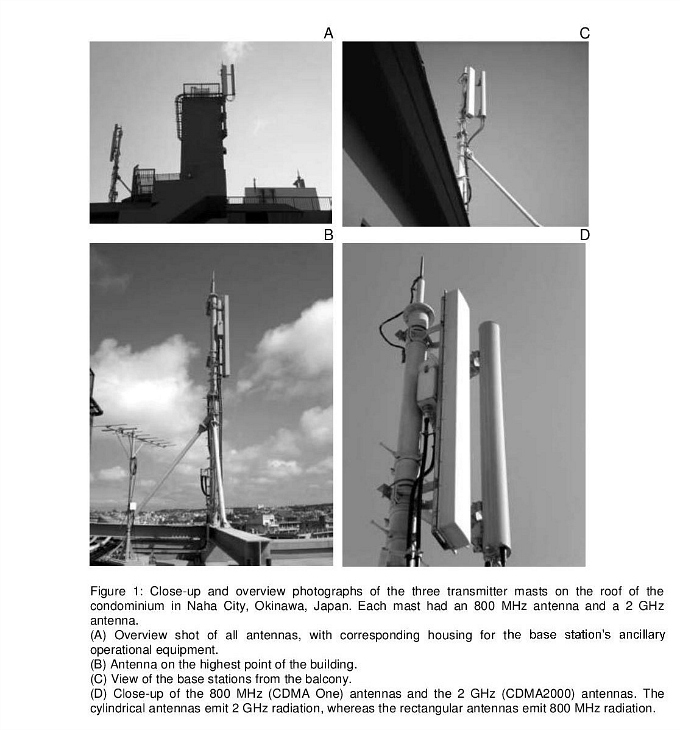 Images depicting three transmitter masts on the roof of condominium in Okinawa Japan