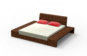 king sized bed made of wood isolated on white with clipping path