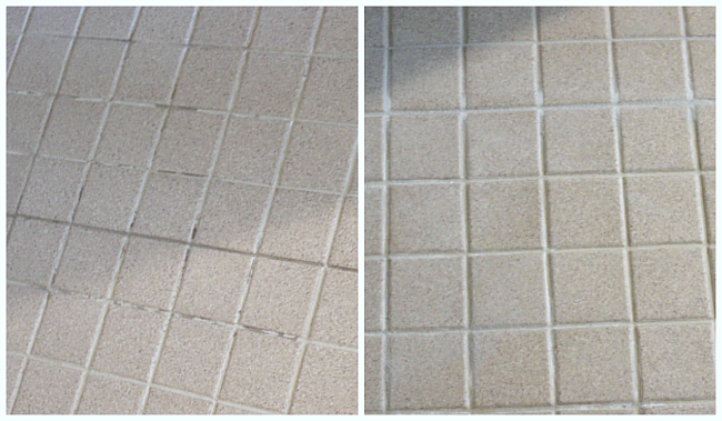 Pumice on tile before and after