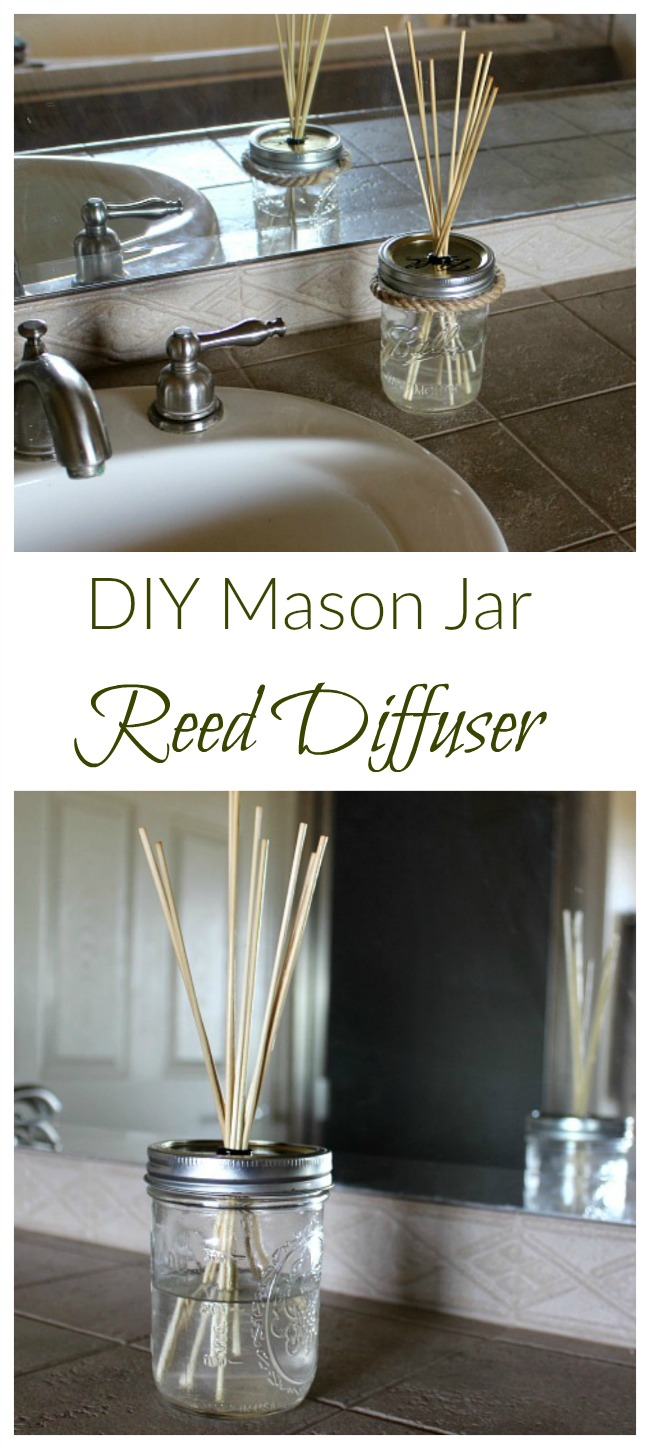 Combine your favorite essential oil with a carrier oil and bamboo skewers for this DIY mason jar reed diffuser!