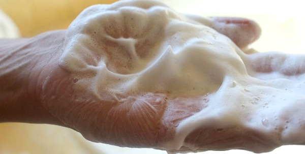 Natural Shaving Soap Lather on Hand
